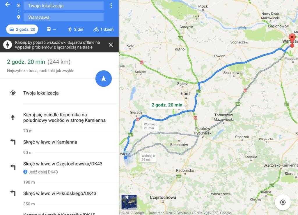 Mapy Google w Samochodzie