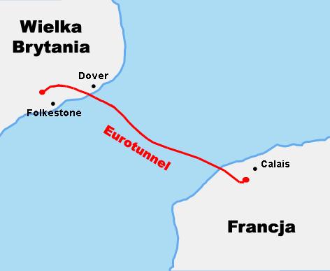 Eurotunel - mapa